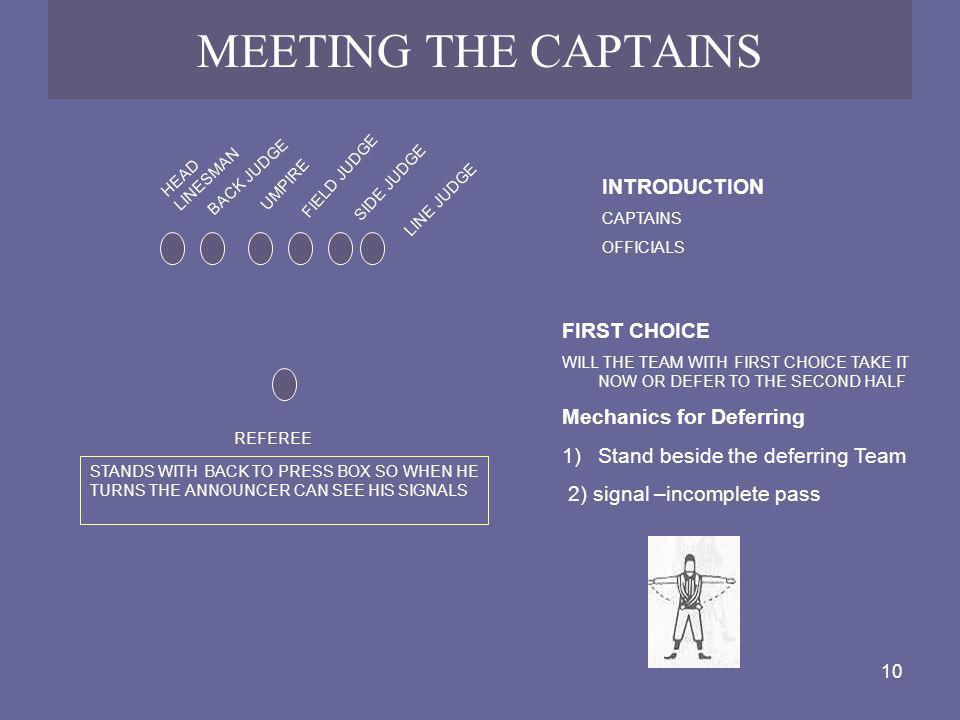 MEETING THE CAPTAINS INTRODUCTION FIRST CHOICE Mechanics for Deferring