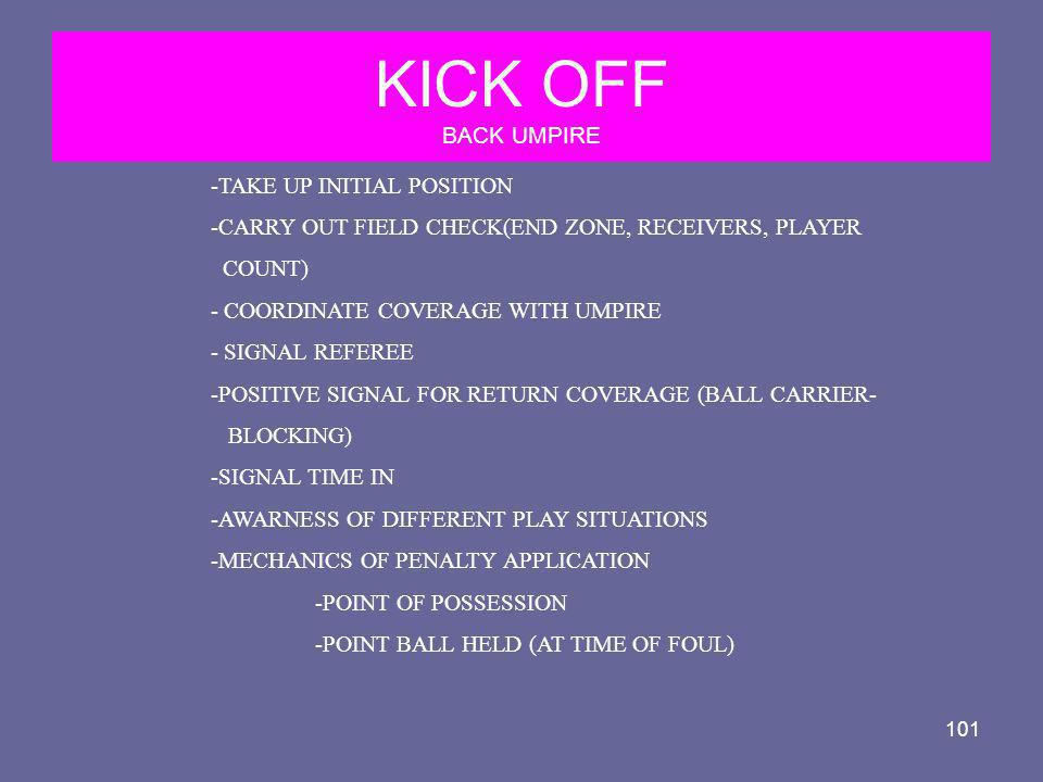 KICK OFF BACK UMPIRE -TAKE UP INITIAL POSITION
