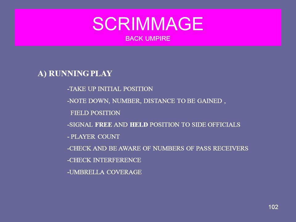 SCRIMMAGE BACK UMPIRE RUNNING PLAY -TAKE UP INITIAL POSITION