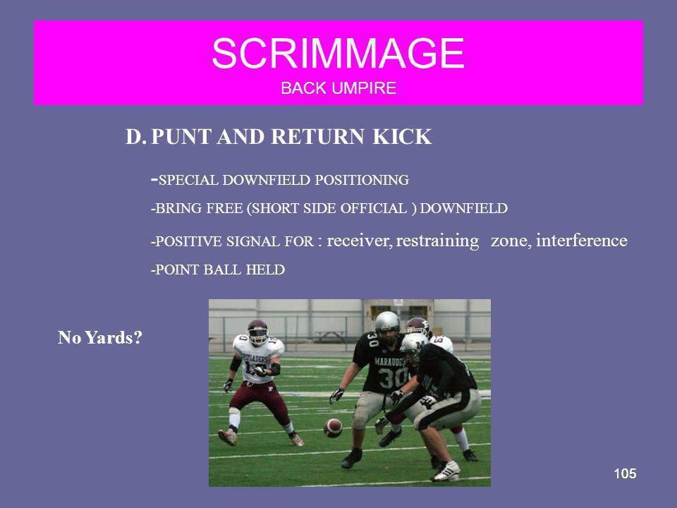 SCRIMMAGE BACK UMPIRE PUNT AND RETURN KICK