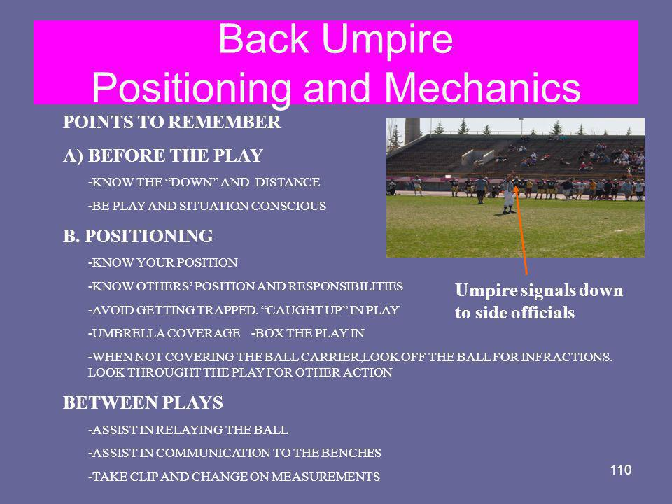 Back Umpire Positioning and Mechanics
