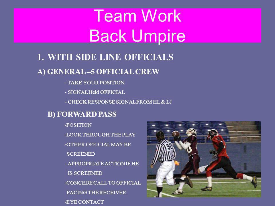 Team Work Back Umpire WITH SIDE LINE OFFICIALS