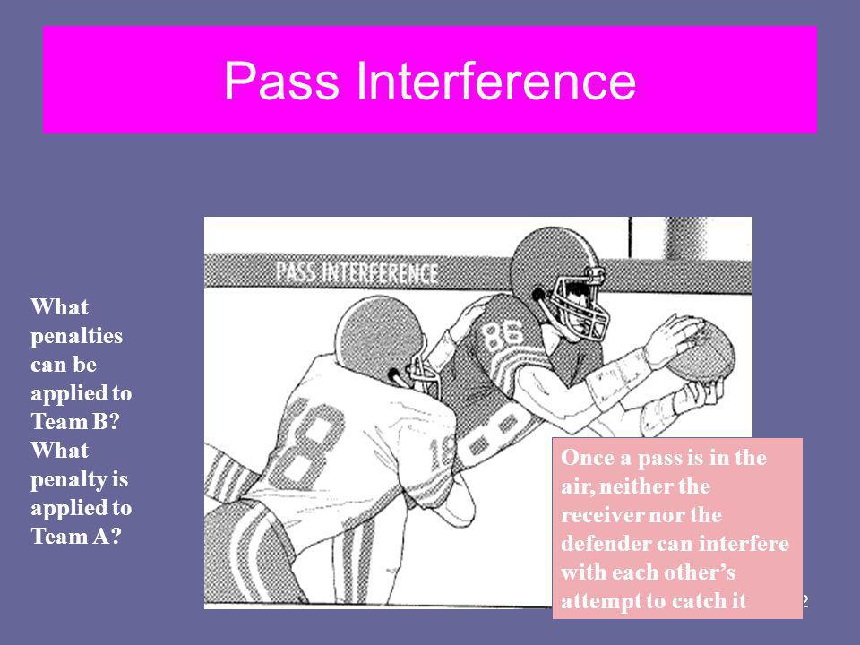 Pass Interference What penalties can be applied to Team B