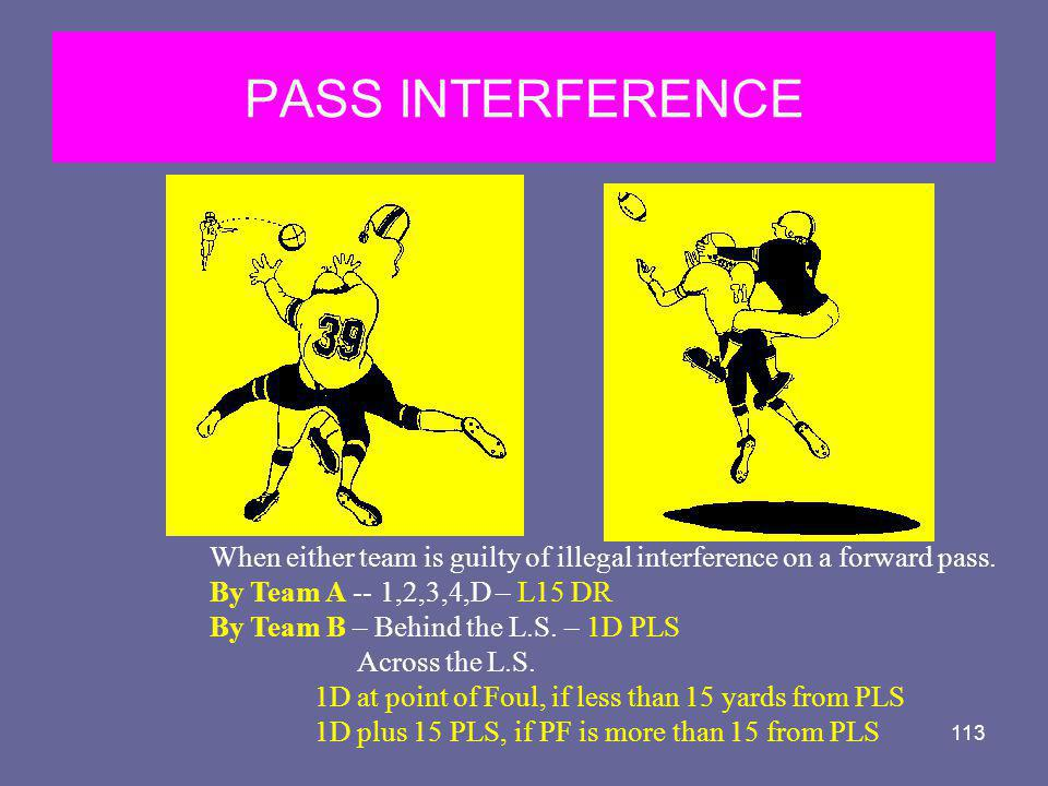 PASS INTERFERENCE When either team is guilty of illegal interference on a forward pass. By Team A -- 1,2,3,4,D – L15 DR.