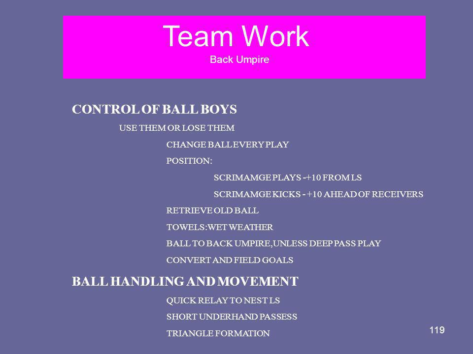 Team Work CONTROL OF BALL BOYS BALL HANDLING AND MOVEMENT Back Umpire