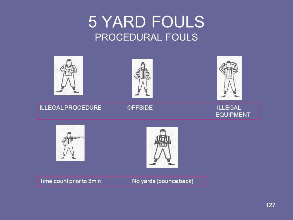 5 YARD FOULS PROCEDURAL FOULS