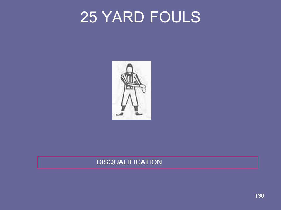 25 YARD FOULS DISQUALIFICATION