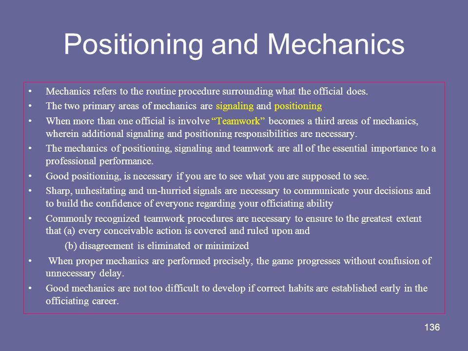 Positioning and Mechanics