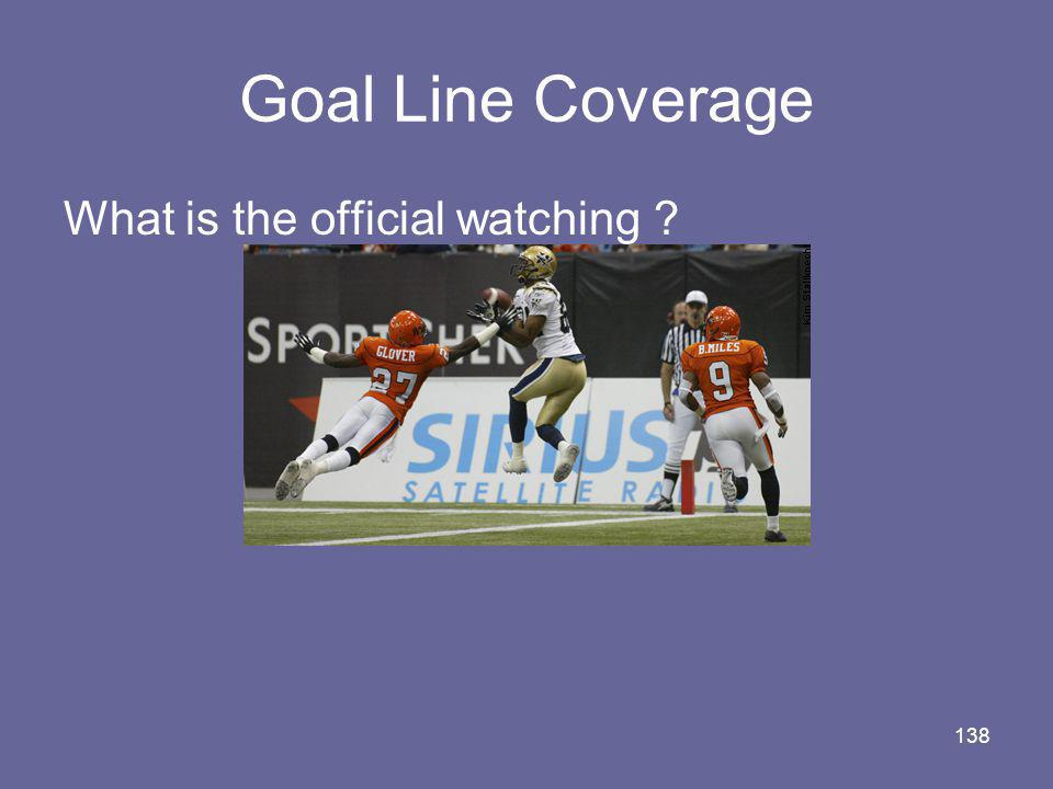 Goal Line Coverage What is the official watching