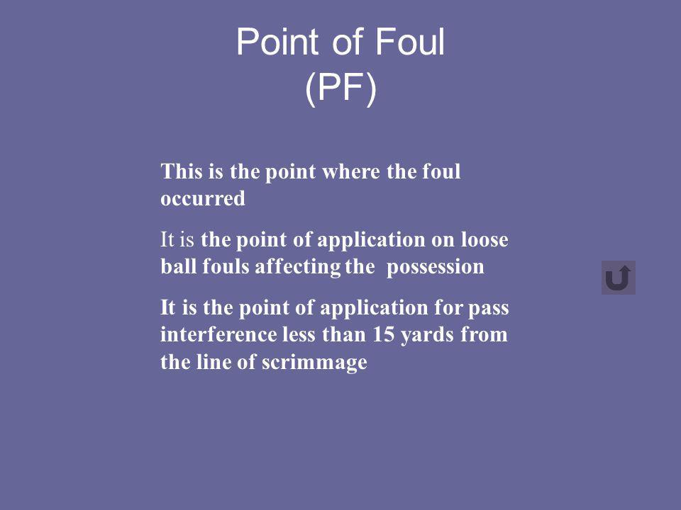 Point of Foul (PF) This is the point where the foul occurred