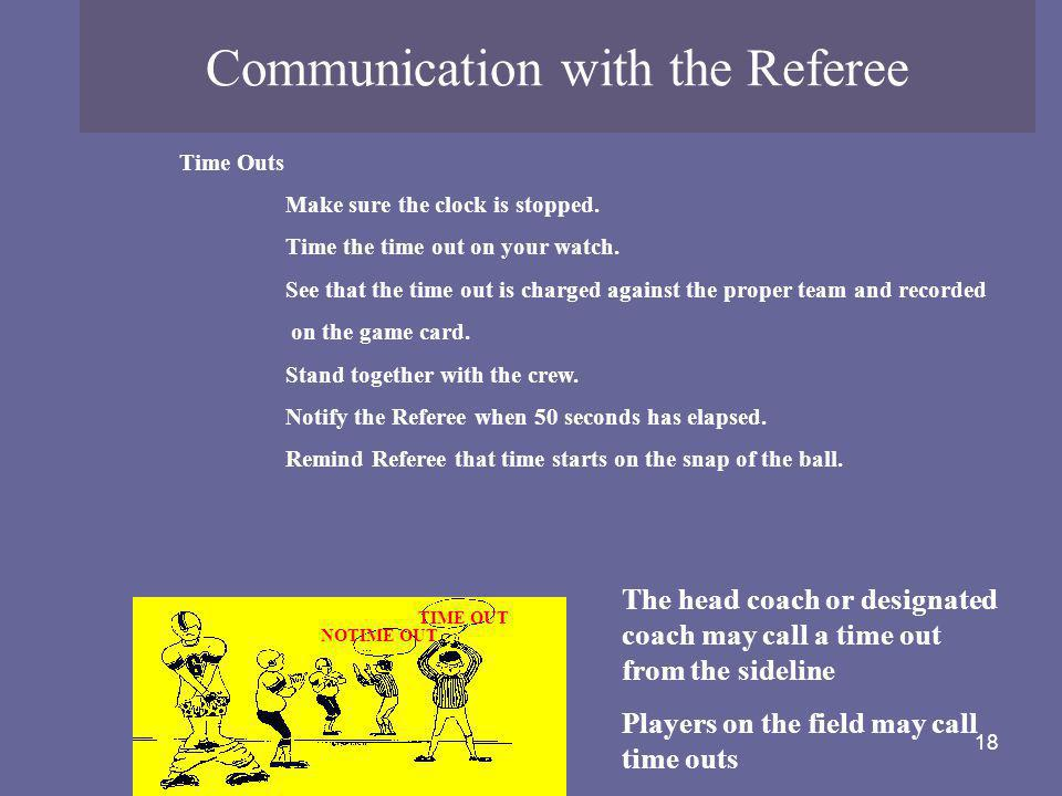 Communication with the Referee
