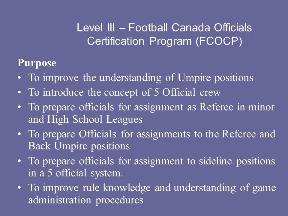Level III – Football Canada Officials Certification Program (FCOCP)
