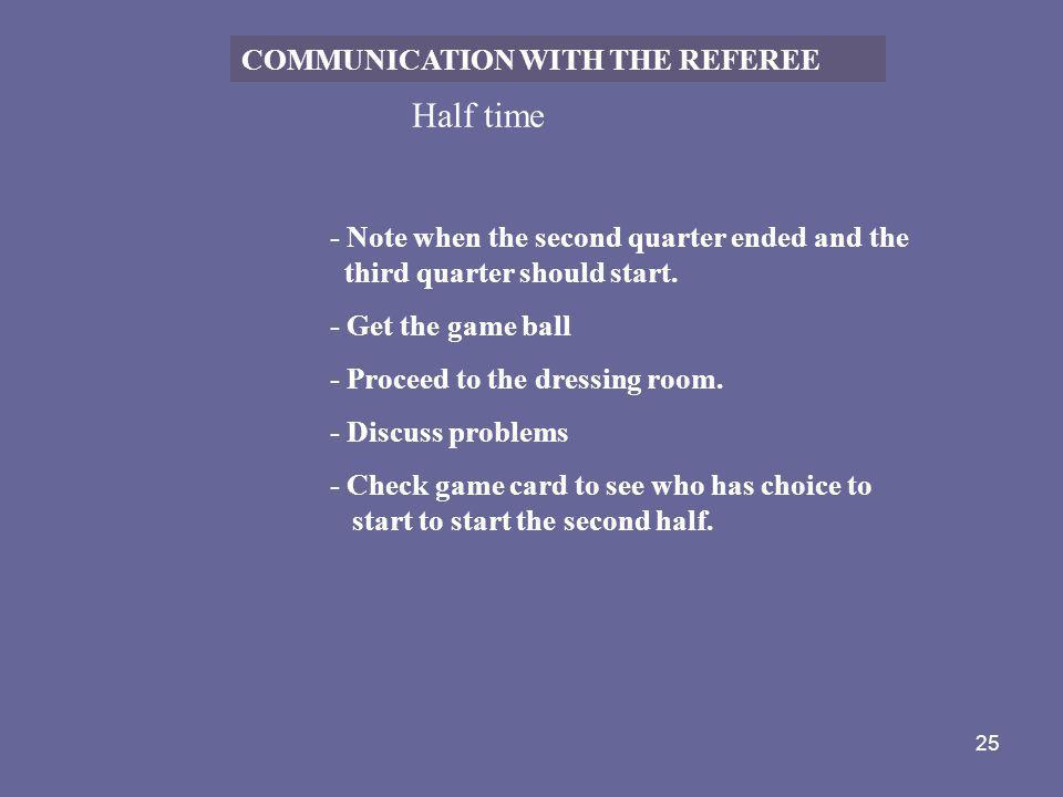 Half time COMMUNICATION WITH THE REFEREE