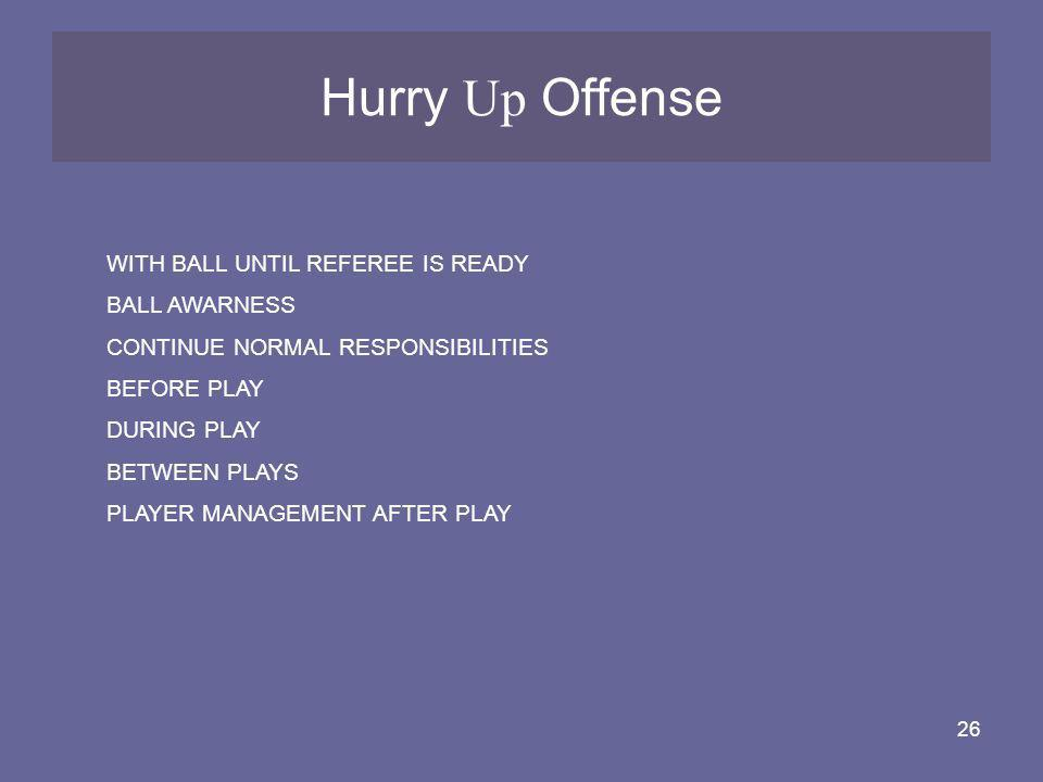 Hurry Up Offense WITH BALL UNTIL REFEREE IS READY BALL AWARNESS