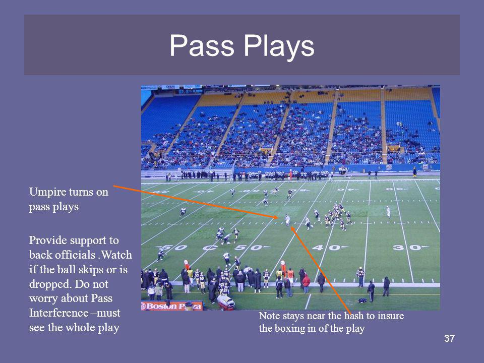 Pass Plays Umpire turns on pass plays