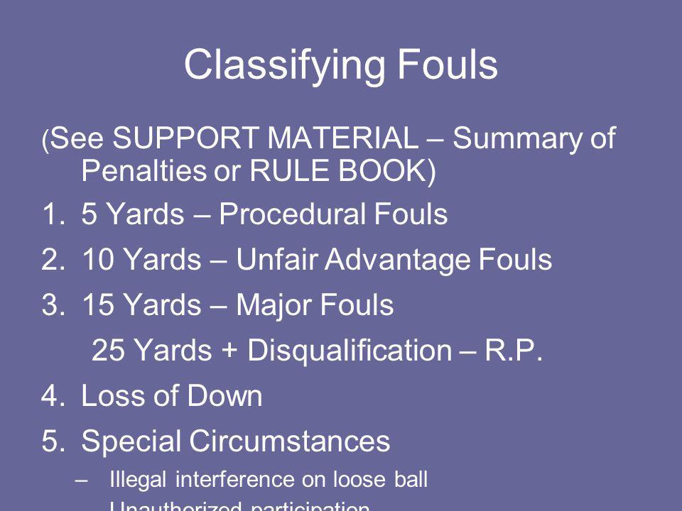 Classifying Fouls 5 Yards – Procedural Fouls