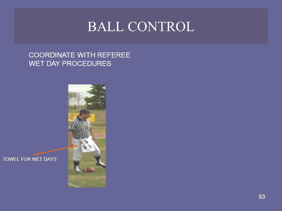 BALL CONTROL COORDINATE WITH REFEREE WET DAY PROCEDURES