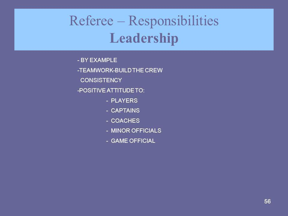 Referee – Responsibilities Leadership