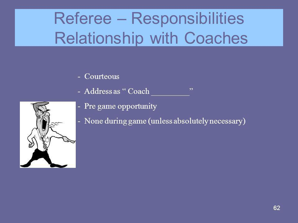 Referee – Responsibilities Relationship with Coaches