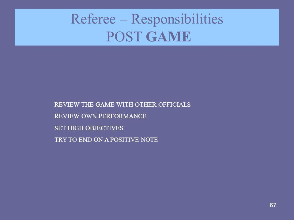 Referee – Responsibilities POST GAME