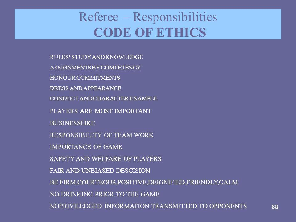 Referee – Responsibilities CODE OF ETHICS