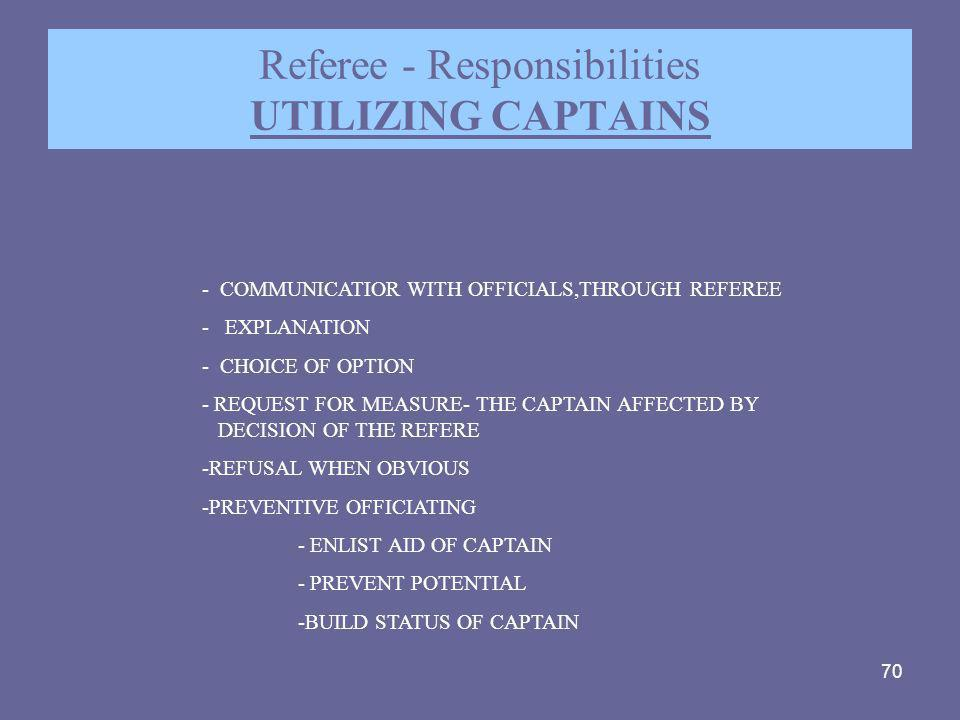 Referee - Responsibilities UTILIZING CAPTAINS