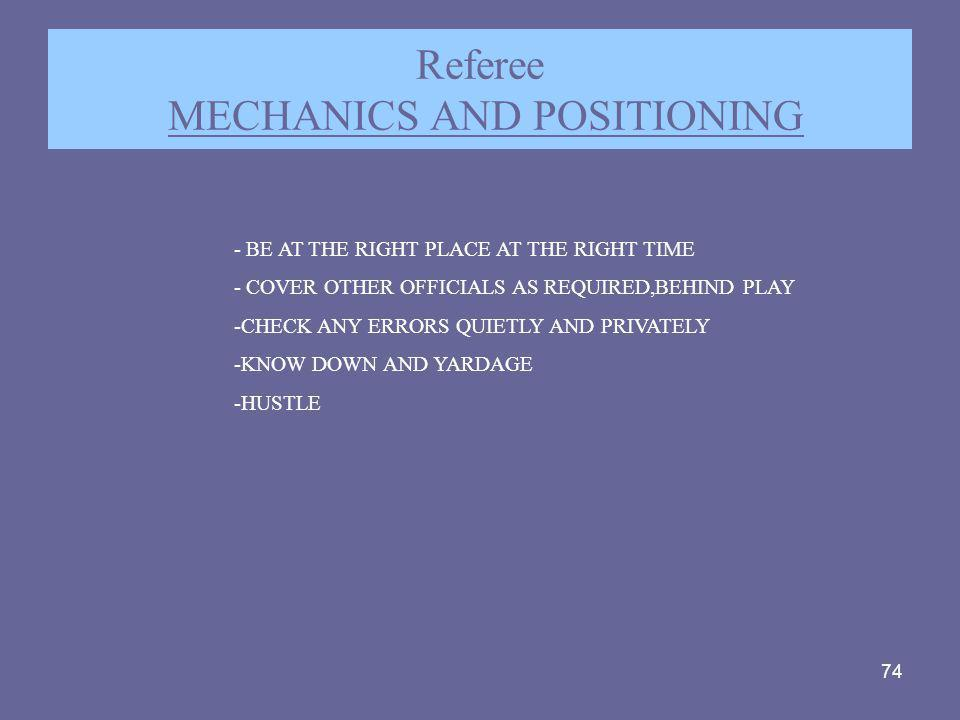 Referee MECHANICS AND POSITIONING