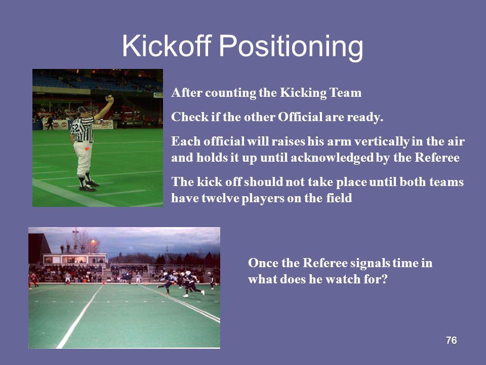 Kickoff Positioning After counting the Kicking Team