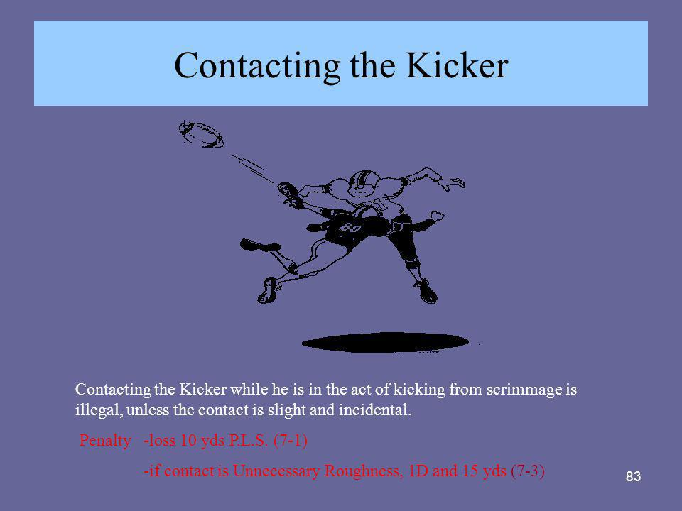 Contacting the Kicker Contacting the Kicker while he is in the act of kicking from scrimmage is illegal, unless the contact is slight and incidental.