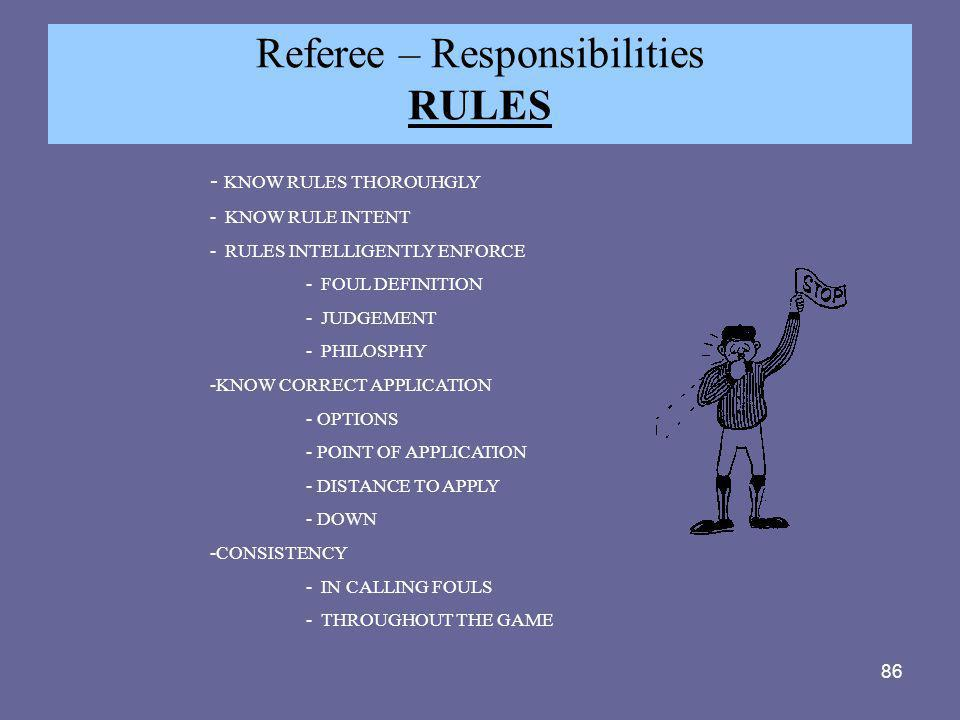 Referee – Responsibilities RULES