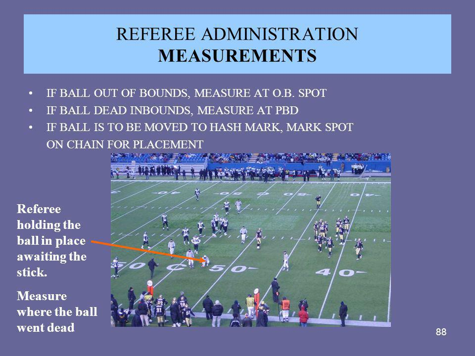 REFEREE ADMINISTRATION MEASUREMENTS