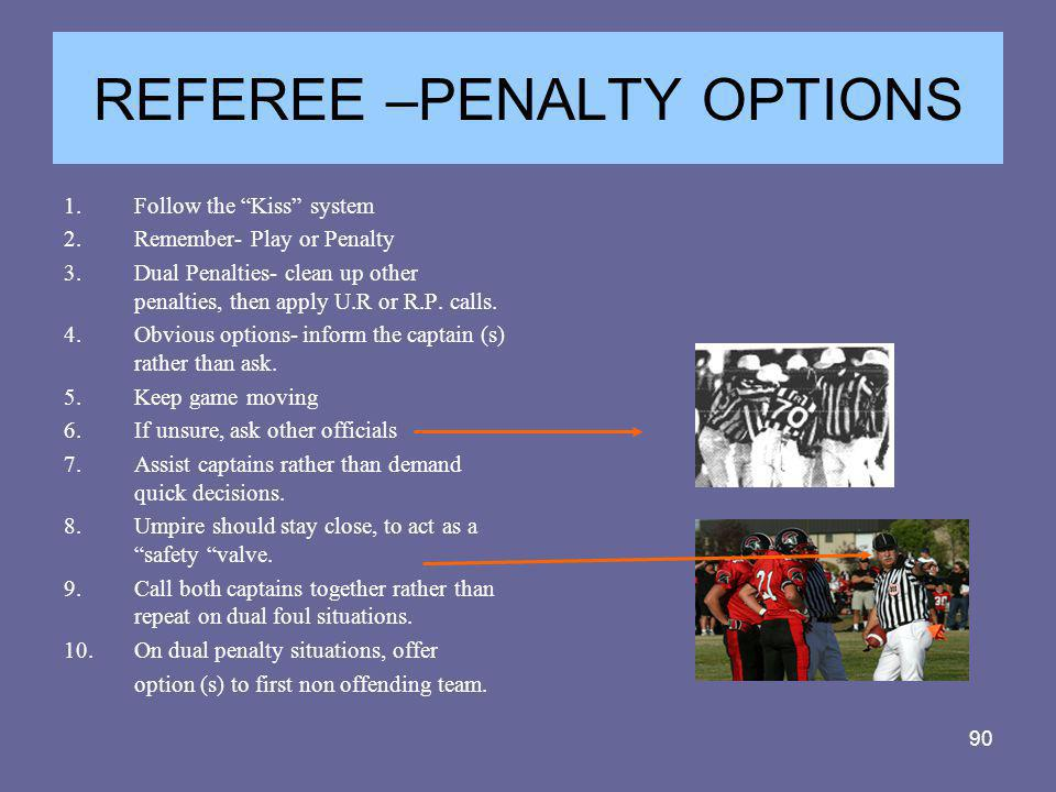 REFEREE –PENALTY OPTIONS