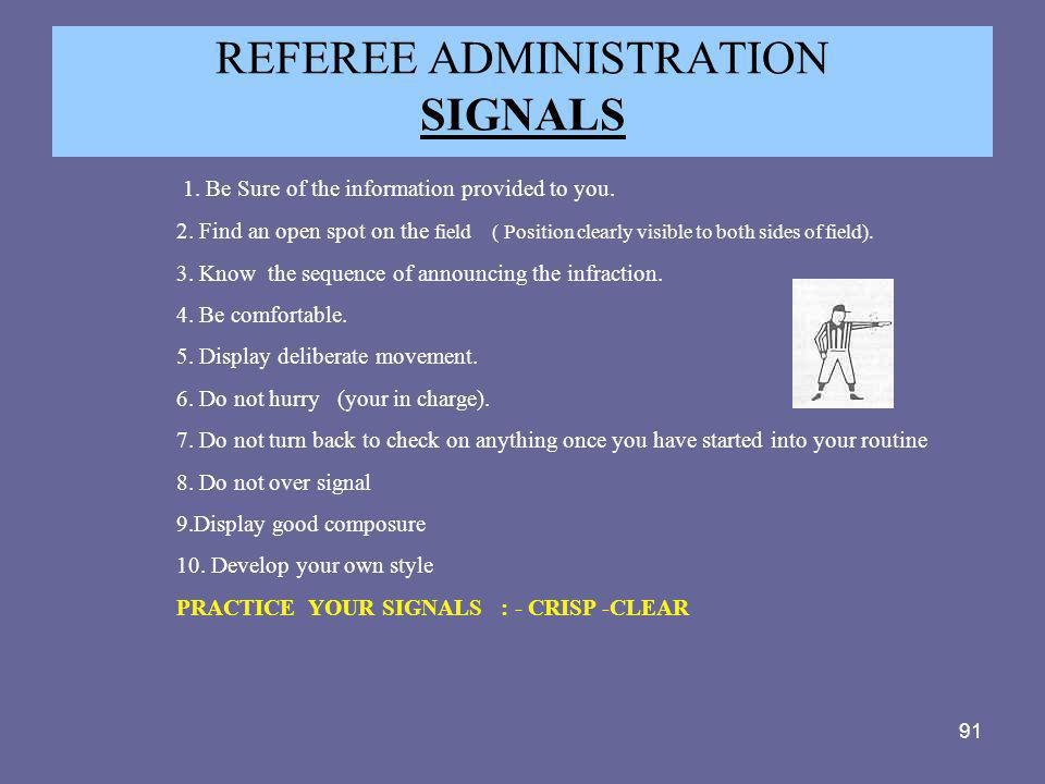 REFEREE ADMINISTRATION SIGNALS