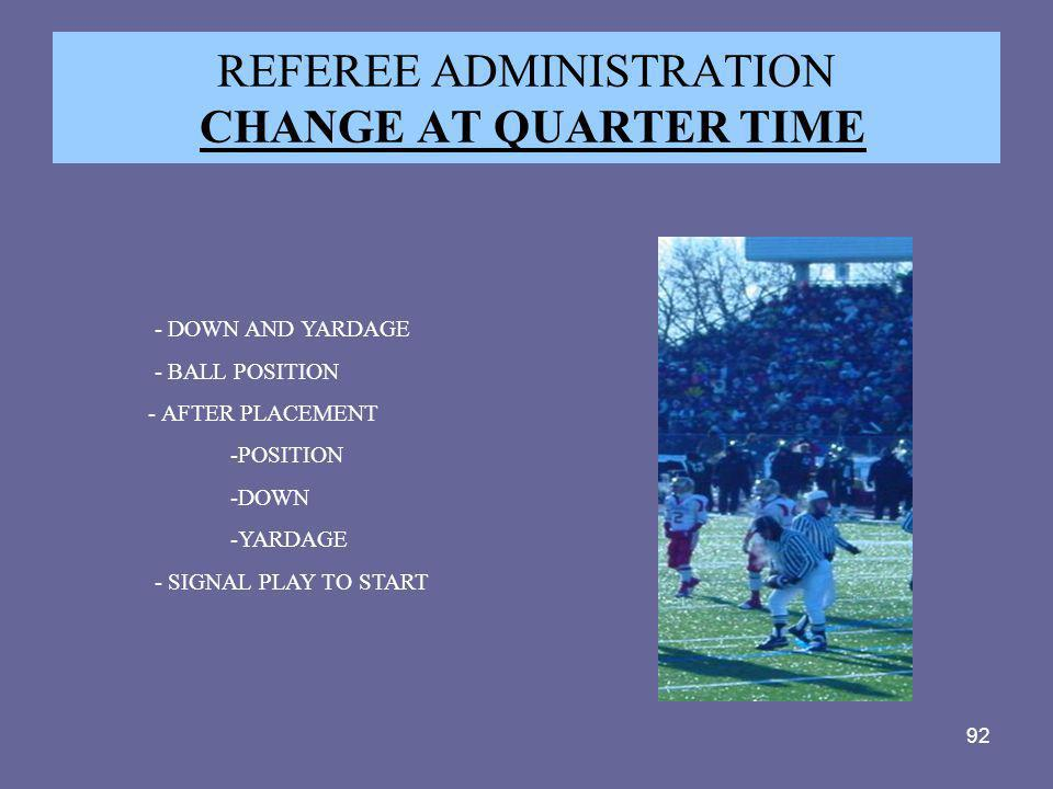 REFEREE ADMINISTRATION CHANGE AT QUARTER TIME