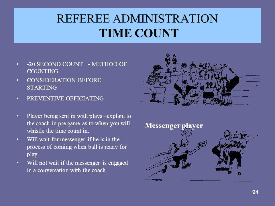REFEREE ADMINISTRATION TIME COUNT