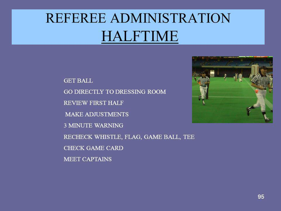 REFEREE ADMINISTRATION HALFTIME