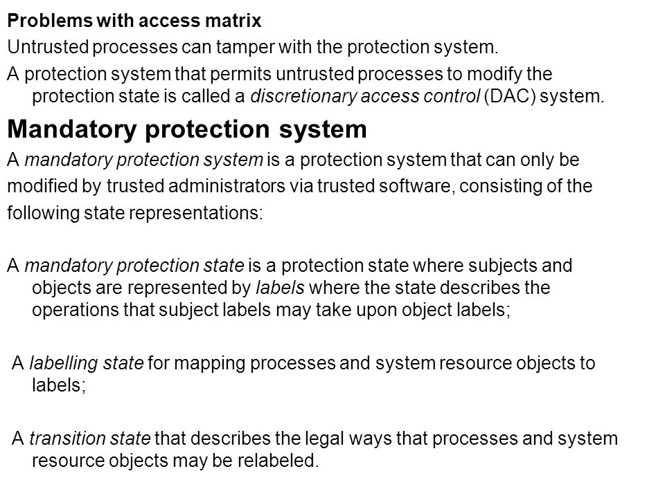 Mandatory protection system
