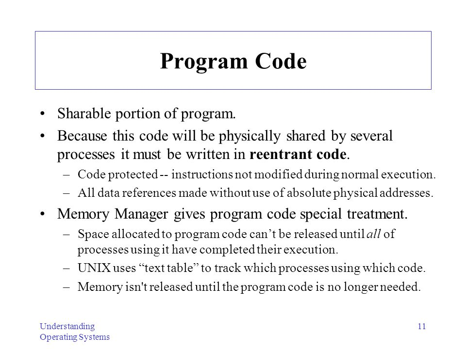 Program Code Sharable portion of program.