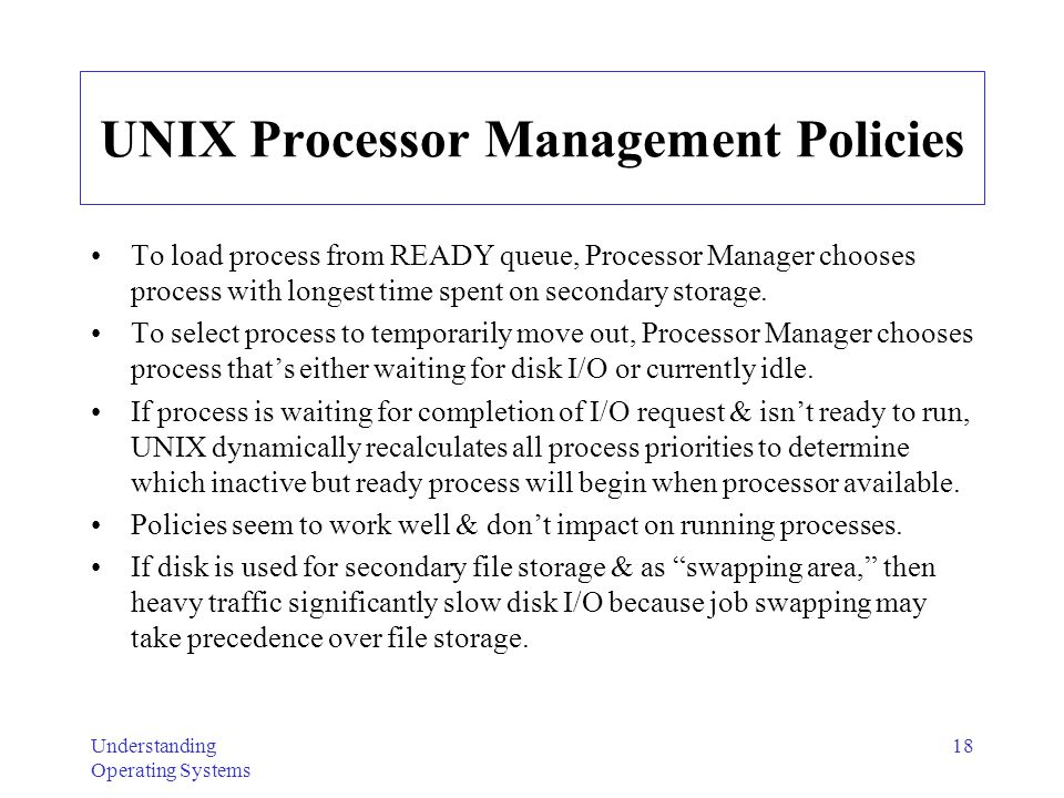 UNIX Processor Management Policies