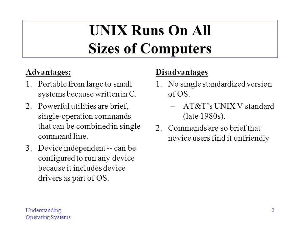 UNIX Runs On All Sizes of Computers