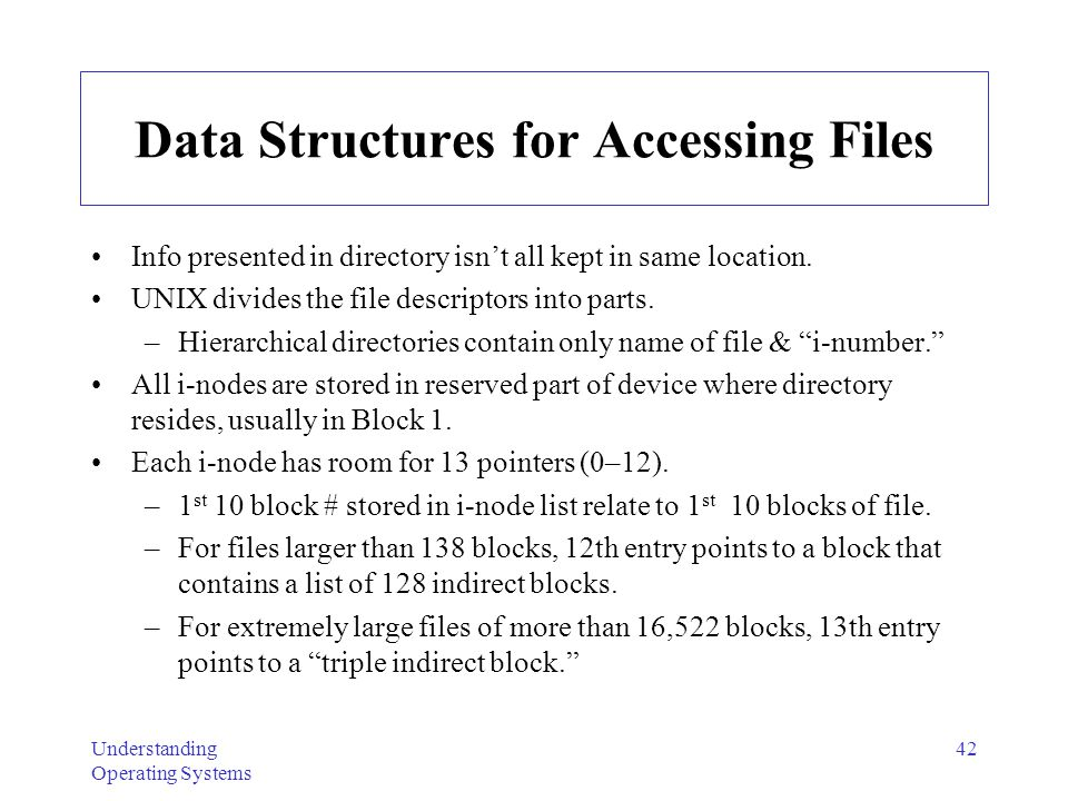 Data Structures for Accessing Files