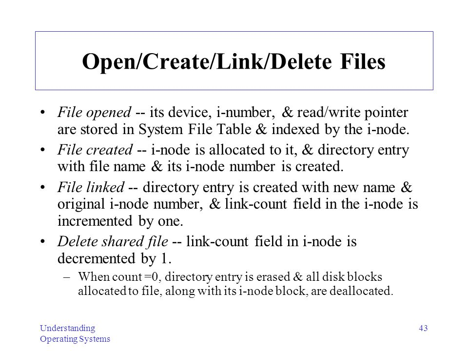 Open/Create/Link/Delete Files