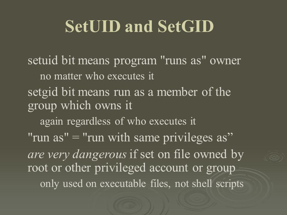 SetUID and SetGID setuid bit means program runs as owner