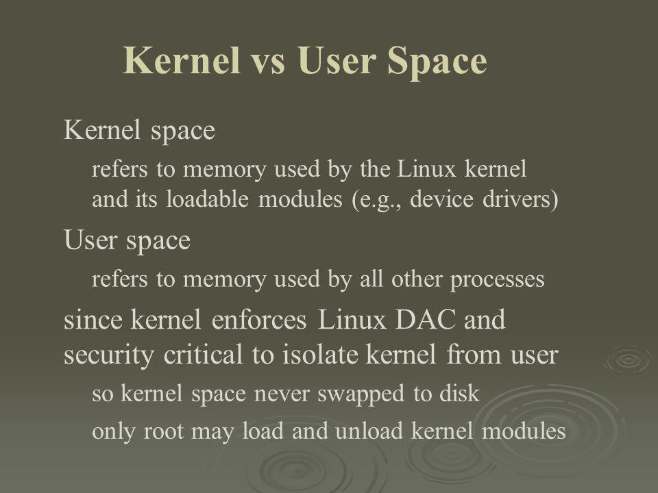 Kernel vs User Space Kernel space User space
