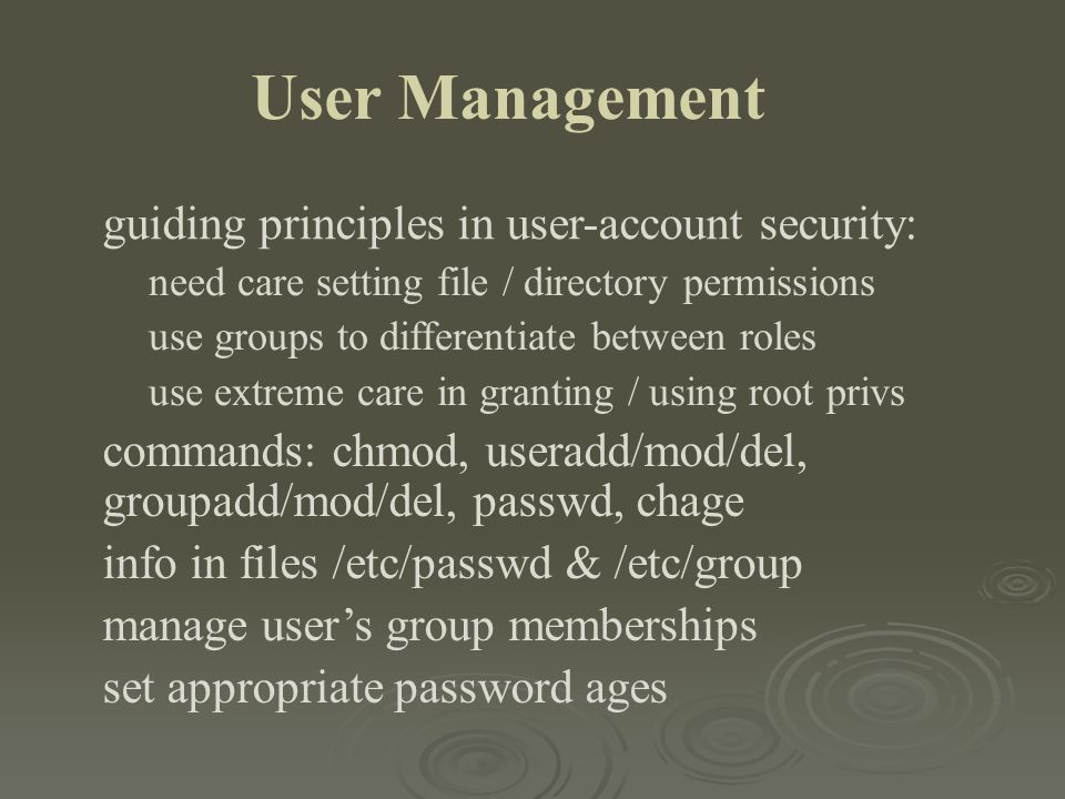 User Management guiding principles in user-account security: