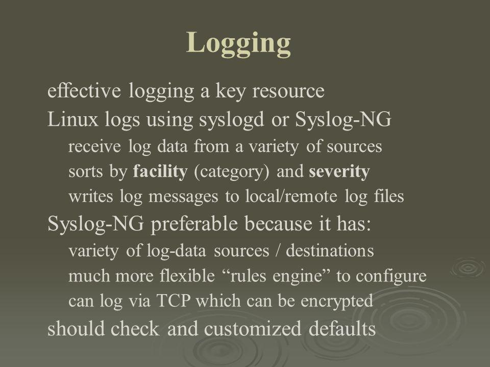 Logging effective logging a key resource