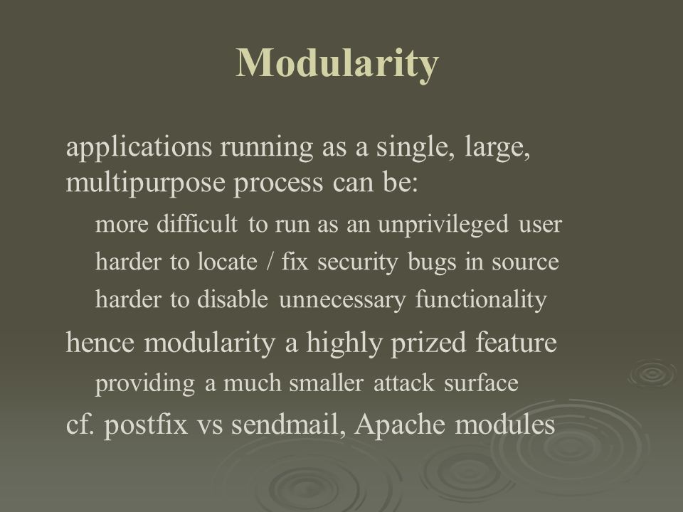 Modularity applications running as a single, large,