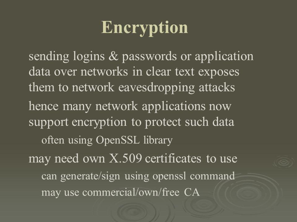 Encryption sending logins & passwords or application