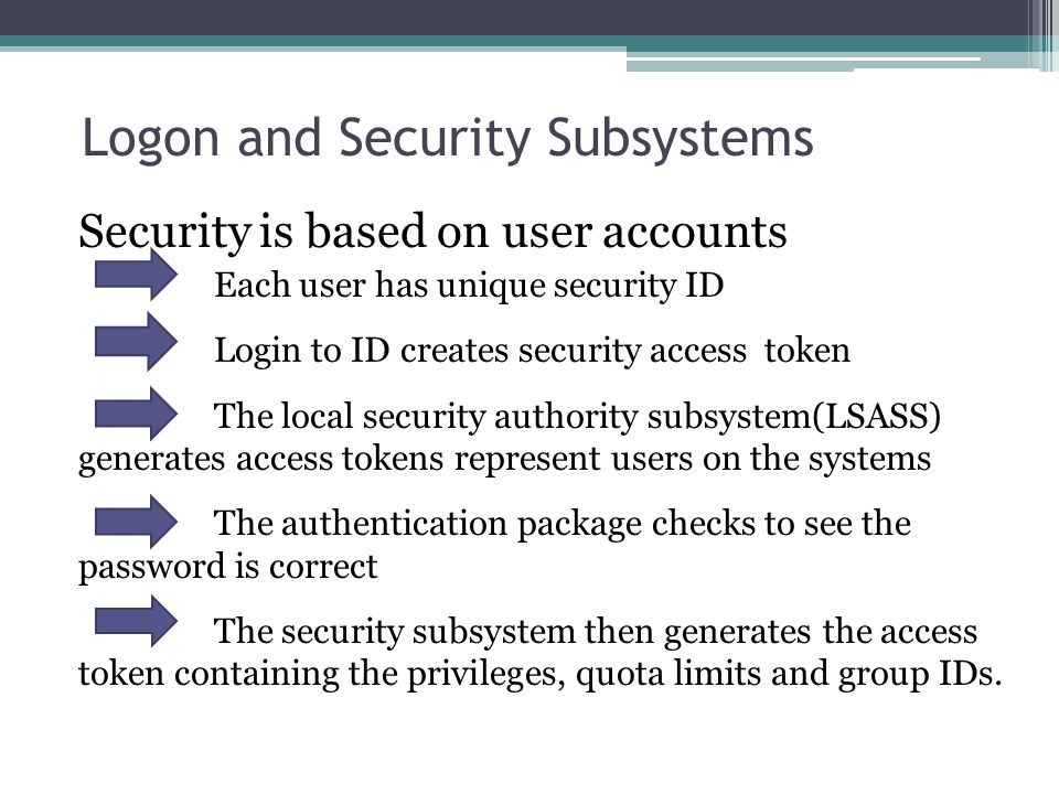 Logon and Security Subsystems