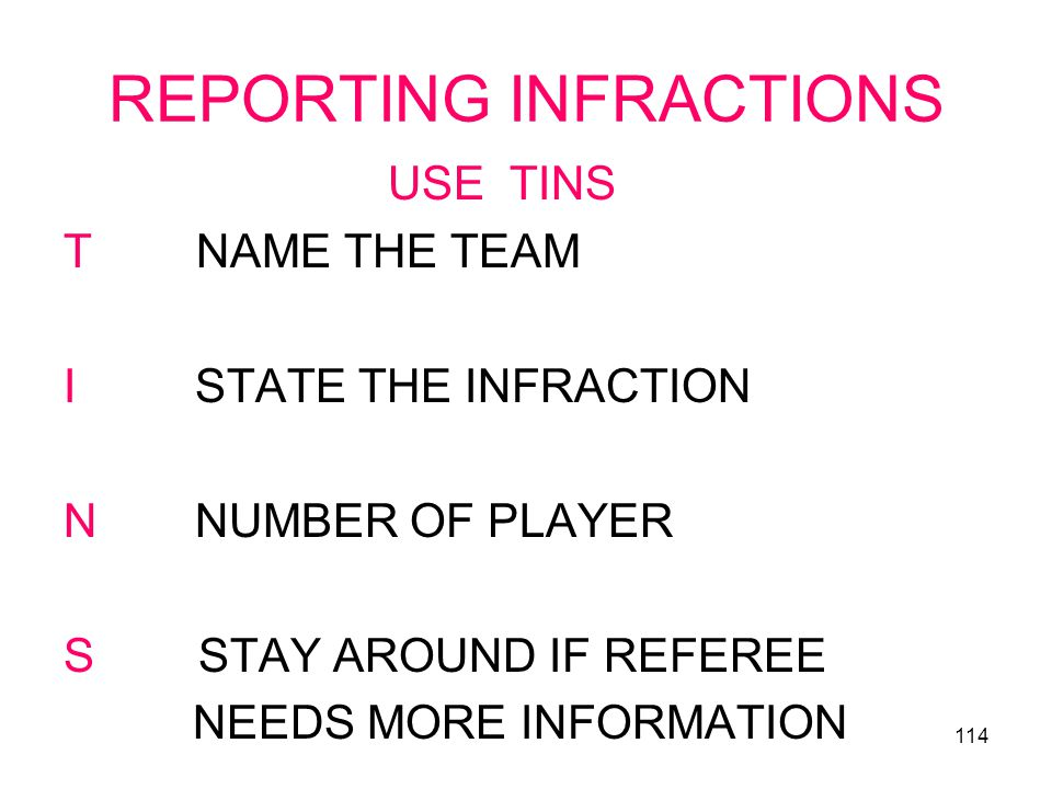 REPORTING INFRACTIONS